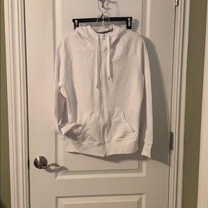 White zip up athletic jacket